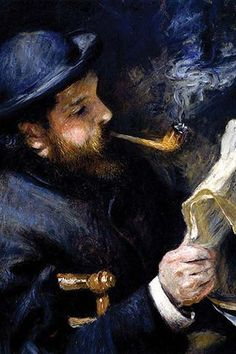 Claude Monet Reading A Newspaper by Pierre- Auguste Renoir