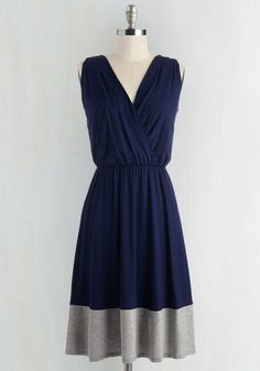 Comely as No Surprise Dress. Elegant as ever, you make the office your runway in this navy blue dress! #blue #modcloth