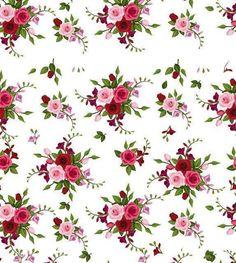 Papel de parede floral com fundo branco e desenhos em tons verde, vinho, vermelho e rosa - Rose 36
