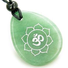 Magic OM and Lotus Sun Circle Amulet Green Quartz Lucky Pendant Necklace #hinduweddings