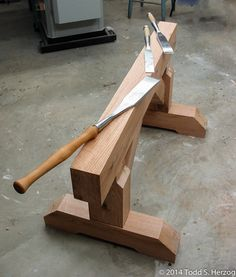 My timber saw horse.  A practice timber framing project.