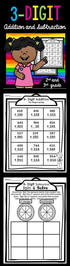 3 Digit Addition & Subtraction - Use these printable worksheets to help your 2nd, 3rd, and 4th grade classroom or home school students get some extra practice. These work great to just print and go! No prep! Great for review, assessment, early or fast finishers, math centers or stations, morning work, seat work, homework, and more. {second, third and fourth graders - math, basic operations, adding, add, subtract, subtracting, arithmetic, with & without regrouping}