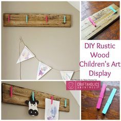 Craftaholics Anonymous® | DIY Rustic Children's Art Display with easy tutorial. Such a fun decor idea for your home!