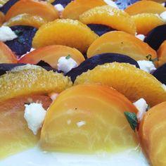 Gold & Red Beet Salad with Orange, Chèvre, Mint, & Fresh Orange Vinaigrette - The Kitchen McCabe