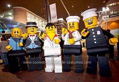Homemade Lego Minifigures Group Costume: Inspired by a cool Lego Chef minifigure found in a local store, a grand Halloween group costume idea was born.   These five Lego Minifigures costumes were
