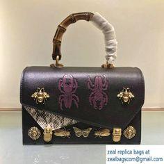 ea9b7c5dc07 Gucci Metal Bee Insect Print Ottilia Leather Small Top Handle Bag 488715  Black 2017  Top-HandleBags