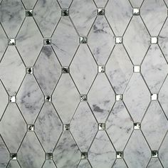 Ivy Hill Tile Mirage Lozenge Carrara in. x 8 mm Marble and Glass Wall Mosaic - The Home Depot Marble Mosaic, Glass Mosaic Tiles, Mosaic Wall, Mirror Tiles, Mirror Bathroom, Glass Tile Bathroom, Carrara Marble Bathroom, Master Bathroom, Bathroom Vanities