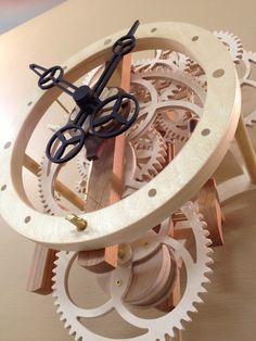 Wooden clock, with deadbeat escapement