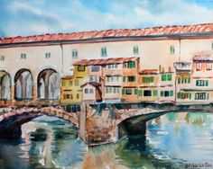 This is an original watercolor painting of the Ponte Vecchio, the Old Bridge in Florence, Italy. Brings back so many memories for me, having