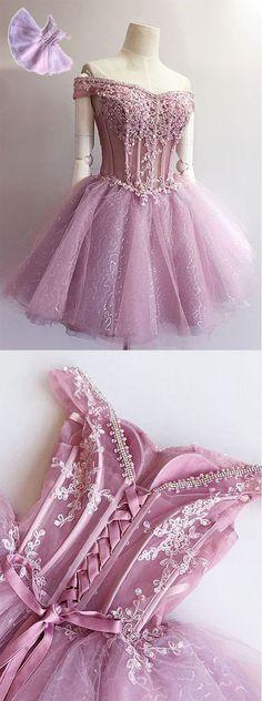 Charming Off Shoulder Princess Unique Applique Homecoming Dresses, BG5 - Bubble Gown