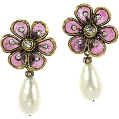 Pre-owned Chanel Early Vintage Rare Gripoix Floral Pearl Teardrop... ($595) ❤ liked on Polyvore featuring jewelry, earrings, vintage earrings, pink earrings, swarovski crystal earrings, vintage jewelry and pearl earrings