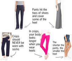 Lets Talk About Pant Length and Shoes: How to pick the right shoes for your pants, capris, crops or shorts.