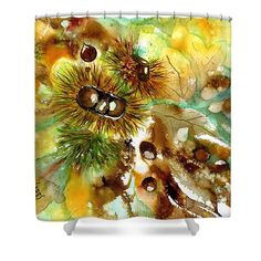 Autumn chestnuts Shower Curtain by Sabina Von Arx Yellow Bathroom Decor, Shower Curtain Rings, Curtains For Sale, Creative Colour, Canvas Prints, Art Prints, Basic Colors, Painting Techniques, Color Show