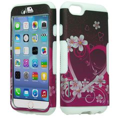 Apple iPhone 6 4.7 Hybrid Slim Grip Stand Pink Heart Flower Hard Soft Cover Case *****Use the code :CCUPIN to get 15% off your purchase and get free shipping within the U.S!! Shop now www.cellcasesusa.com