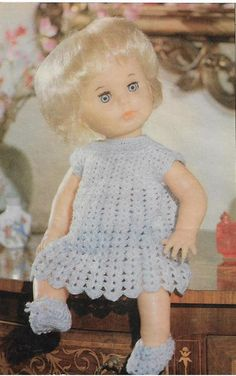 Pale blue crochet dress, pattern from Your Family, January Doll Clothes Patterns, Clothing Patterns, Baby Patterns, Knitting Patterns, Crochet Clothes, Crochet Hats, First Love, Flower Girl Dresses, Dolls