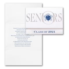 Crested Seniors - Invitation   Item Number GY83396 Seniors is bold in silver foil on this crested seniors graduation invitation. The bottom panel has slits for you to insert your name card.