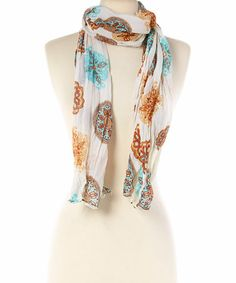 Another great find on #zulily! Blue & Brown Floral Scarf #zulilyfinds