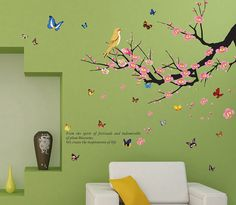 DaGou, Butterflies and Trees and birds, Home Decor large Wall Stickers and Murals, Wall Decals, Wallpaper, and Removable Wall D_¸_ëcor Decorative Painting Supplies and Wall Treatments Stickers for Kids Living Room bedroom wallpops decal * Additional info  : DIY : Do It Yourself Today