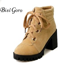 >> Click to Buy << BISI GOGO Women Ankle Boots Lace Up Platform Autumn Winter Boots Women Shoes Thick Heel Short Boots Female Martin Boots 2017 #Affiliate