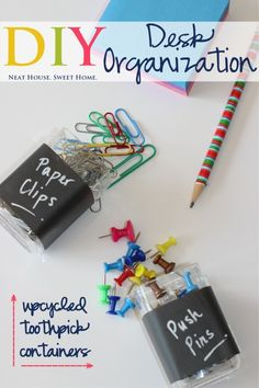 Upcycle toothpick containers to hold lose clips, push pins and staples!