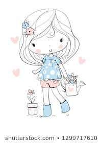 Find Girl Flowers stock images in HD and millions of other royalty-free stock photos, illustrations and vectors in the Shutterstock collection. Thousands of new, high-quality pictures added every day. Illustration Mignonne, Cute Illustration, Doodle Art, Cute Drawings, Drawing Sketches, Easy Coloring Pages, Kawaii Doodles, Girls With Flowers, Cute Chibi
