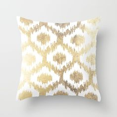 Buy Modern white hand drawn ikat pattern faux gold  Throw Pillow by Pink Water. Worldwide shipping available at Society6.com. Just one of millions of high quality products available.