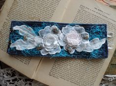 Denim Cuff Bracelet. I use denim and both new and vintage items to make these. So much fun! Kind of Hippie Couture.