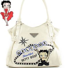 Click Here and Buy it on Amazon.com Price: $45.99 Amazon.com: Betty Boop Fashion Unique Betty Boop Character Embroidered Gemstones Rhinestone Studded Woven Drawstring Detailed Tote Satchel Shopper Handbag Purse in Cream Beige: Clothing
