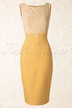 Daisy Dapper - 50s Vicky Pencil Dress in Yellow