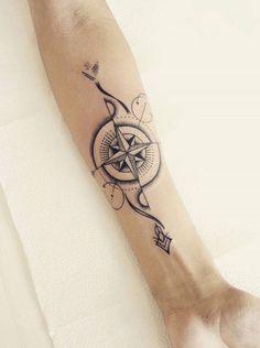 Feminine Compass Tattoo, Arrow Compass Tattoo, Compass Tattoo Design, Arrow Tattoos, Tribal Cross Tattoos, Cross Tattoos For Women, Best Tattoos For Women, Tattoos For Guys, Cool Forearm Tattoos