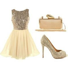 Gold and ivory dress with gold heel. Glittery outfit. Cute outfit.