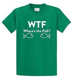 Comical Shirt Men's WTF Where's Fish? Funny Fishing Shirt Mens T-Shirt Kelly Green L