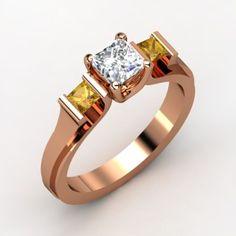 Princess Diamond Ring with Citrine | Fashion Trends