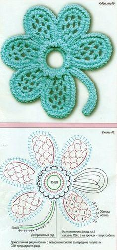 Flor vazada de crochê com gráfico                                                                                                                                                     Mais