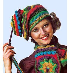 Oh My! ... 1970's Boho Lantern Hat Cap Freeform Crochet
