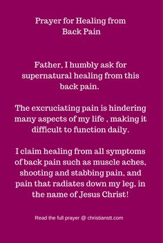 Prayer for Healing fromBack Pain
