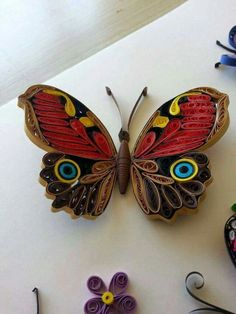Cool Quilling Design - Diy & Crafts World Neli Quilling, Quilling Butterfly, Paper Quilling Flowers, Paper Quilling Patterns, Quilled Paper Art, Quilling Paper Craft, Paper Butterflies, Butterfly Crafts, Paper Beads