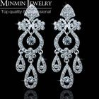 Hot Selling Free Shipping Luxurious Silver Crystal Earrings for Women Wedding Accessories Best Gift for Bride EH001
