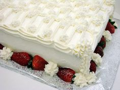 Strawberry Custard cake and whipped cream icing.....