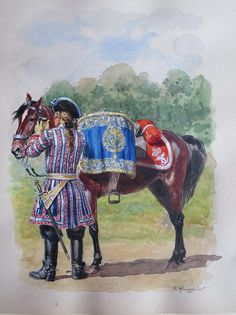 SYW- France: Gendarme du Dauphin, by Lucien Rousselot. Army Uniform, Military Uniforms, Luis Xiv, War Drums, Seven Years' War, French Army, Carnival Costumes, Napoleonic Wars, Military Art
