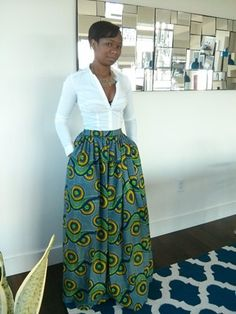 16f9e046db46e African Print Maxi Skirt with pockets by MelangeMode on Etsy