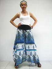 Pants PBB93 Cotton Lagenlook Boho Hippie Gypsy Harem Genie Wide Leg Beach Women