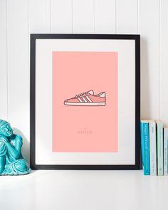 Adidas Gazelle OG Pink Sneaker Illustration • Classic Urban Streetwear Shoes Wall Art Home Decor • #adidas #gazelle #adidassneakers #adidasart #adidasposter #adidasgazelle #gazellesneakers