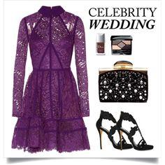 Evening Wedding by citygirlspace on Polyvore featuring Mode, Elie Saab, Oscar de la Renta, Nina Ricci, Christian Dior and CelebrityWedding