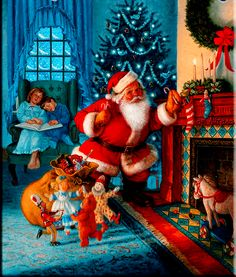 """""""The Night Before Christmas"""" illustration by Ruth Sanderson American) Christmas Scenes, Noel Christmas, Father Christmas, Vintage Christmas Cards, Xmas Cards, Winter Christmas, Christmas Crafts, Christmas Posters, Vintage Holiday"""