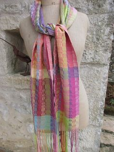 Handwoven Scarf Naturally Dyed Silks by tisserande on Etsy