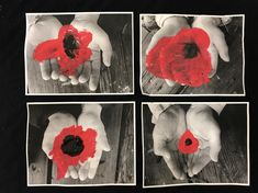 Coloured poppies on black and white photos of little hands. Deedee Francoeur-Timmermans and others have shared this idea online. We offered… Remembrance Day Activities, Remembrance Day Art, Grade 1 Art, Grade 3, School Holiday Activities, Steam Art, American Flag Art, Montessori Art, Anzac Day