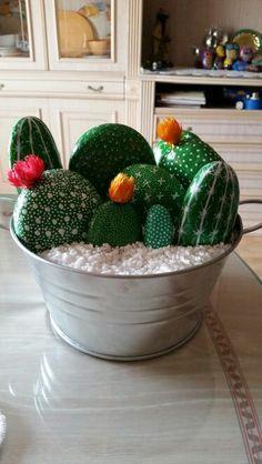 Cactus painted rocks in a tub… Cute maintainable free plants! Cactus painted rocks in a tub… Cute maintainable free plants! Cactus Painting, Plant Painting, Pebble Painting, Pebble Art, Stone Painting, Painting Art, Painted Rock Cactus, Hand Painted Rocks, Cactus Pierre