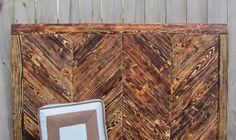 Wood Chevron Queen Headboard Made From Reclaimed Pallet Wood - Chevron Wall Art. $325.00, via Etsy.