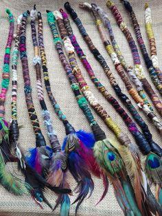 Dreadlock Extensions Clip - Wool Hair Wrap - Boho Dreads - Feather Hair Extensions - Faux Dreadlocks - Feather Hair Clip - Festival Wear by QuetzalcoatlWear on Etsy Bohemian Hairstyles, Dreadlock Hairstyles, Feathered Hairstyles, Feather Extensions, Dreadlock Extensions, Braid In Hair Extensions, Hippie Hair, Hippie Boho, Boho Gypsy